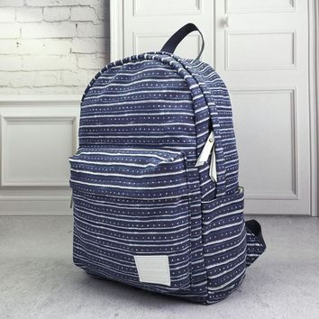 Day-First™ Navy Striped Canvas Backpack School Bag Travel Bag