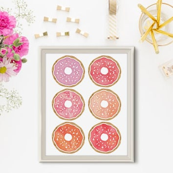 Donut Print - Watercolor Print, Food Print, Kitchen Art, Office Decor, Pink and Purple, Modern, Home Decor