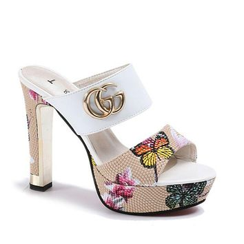 GUCCI Trending Women Stylish Print Heels Sandals Shoes White I