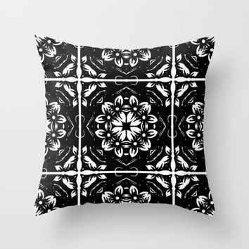 Black And White Kaleidoscope Throw Pillow by Colorful Art
