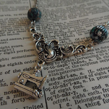 Sewing Machine Necklace, Steampunk, Vintage S23