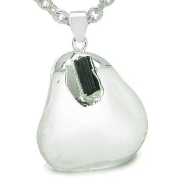 Brazilian Amulet Rock Quartz Tumbled Crystal with Rough Black Tourmaline Necklace