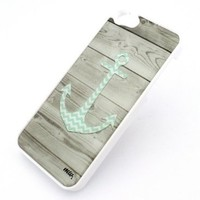WHITE Snap On Case IPHONE 5 Plastic Cover - LIGHT WOOD CHEVRON ANCHOR teal hope boat mint blue hipster