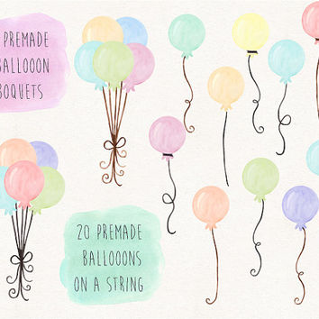 Balloons Clip Art. Watercolor Balloon Clipart. Birthday Balloon Illustration. Hand Painted Pastel Mint, Pink, Peach Watercolor Balloons.