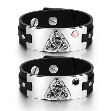 Celtic Triquetra Knot Love Couples Pink Simulated Cats Eye Simulated Onyx Black Leather Bracelets