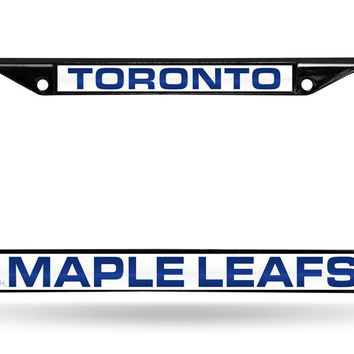 NHL Toronto Maple Leafs Black Laser Cut Chrome License Plate Frame
