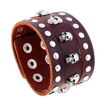 Punk Style Leather Skull Bracelet