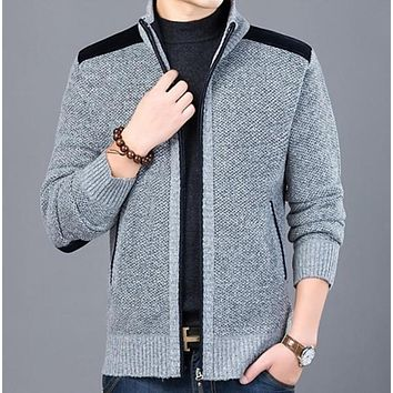 Mens Zipped Up Cardigan with Elbow Patch