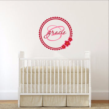 Personalized Cherry Blossom Monogram Nursery Vinyl Wall Decal 22395