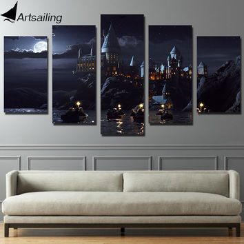 HD Printed 5 piece canvas Harry Potter School Castle Hogwarts Painting room decor posters and prints art Free shipping/ny-6267