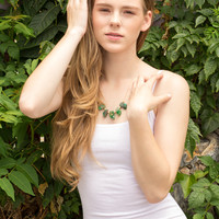 Green stone necklace, agate 14K gold-filled chain. Each necklace one of a kind