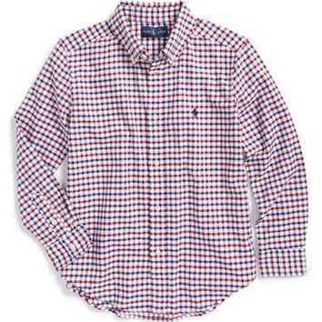 Boy's Ralph Lauren 'Blake' Long Sleeve Woven Gingham Sport Shirt,