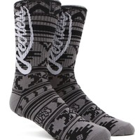 Young & Reckless Big R Script Crew Socks - Mens Socks - Gray - One