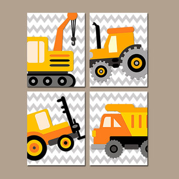 Construction Boy Wall Art Nursery Canvas Child Artwork Transportation Orange Dump Truck Forklift Tractor Chevron Set of 4 Prints Bedroom