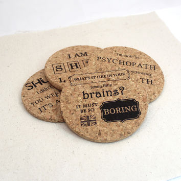 Sherlock Themed Cork Coaster Set of 4