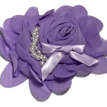 "Lavender 4.5"" X 4"" chiffon rolled rose with pearl stands"