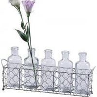 Glass Bottles and Wire Tray Set