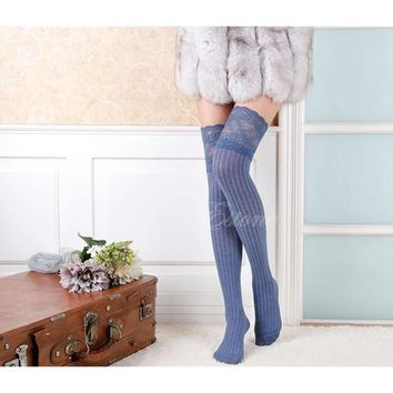 Women's Lace Thigh High Socks. Over Knee Thigh Highs