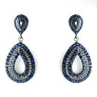 Navy Blue Crystal Wedding and Prom Earrings - sale!