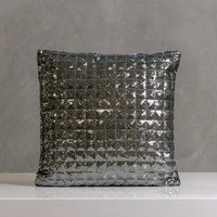 "Festive Onyx Pillow 16""x16"" Gray"
