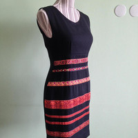 Black Pencil Dress, Bodycon Dress, Sleeveless Dress, Knee Length Black Party Dress, Orange Red Stripes Black Cocktail Dress, Size S M