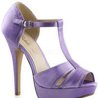 T-strap Lavender Satin Peep Toe Pumps
