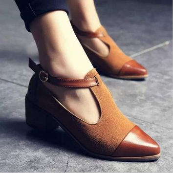 Women's Pointed Toe Low Heels Buckle Shoes