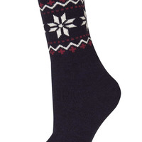 Navy Snowflake Fairisle Sock