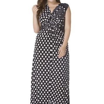 Plus Size Black Polka Dots Sleeveless Maxi Dress