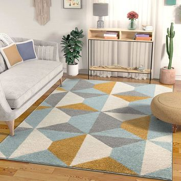 7040 Blue Gold Geometric Contemporary Area Rugs