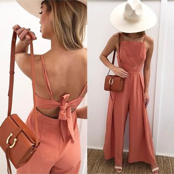 Rosalyn Bow-Tied Open-Back Jumpsuit