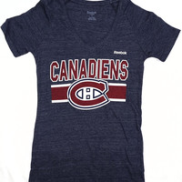 Montreal Canadiens Reebok Short Sleeve V Neck T Shirt Ladies Size S