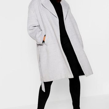 Plus Belted Wool Look Coat | Boohoo