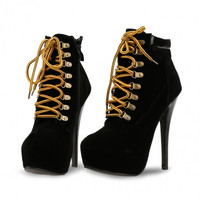 \Pointed Toe High Heels Lace Up Side Zipper Ankle Bootie Solid Boots