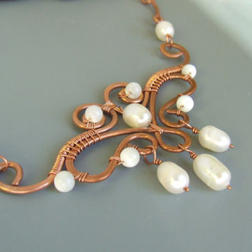 Pearl copper necklace, wire wrapped necklace, statement jewelry, pearl June birthstone