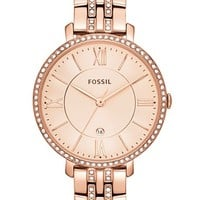Women's Fossil 'Jacqueline' Crystal Bezel Bracelet Watch, 36mm - Rose Gold