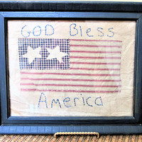 Flag Framed Handmade Patriotic American Red White Blue Stitched Independence Day Vintage blm