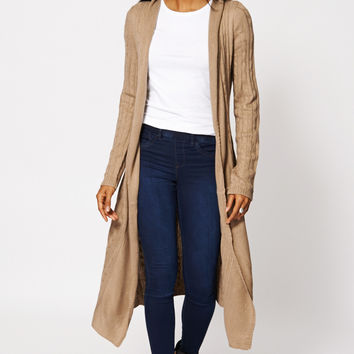 Cable Fine Knit Long Open Cardigan