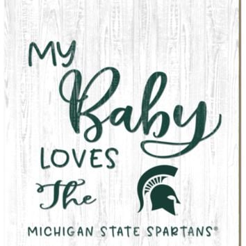 Michigan State Spartans | My Baby Loves | Sign | Wood | Rope Hanger | NCAA