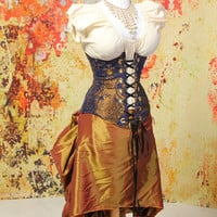 Waist 35 to 37 Royal Blue and Gold Medallion Underbust Corset with EXTRA Back Boning