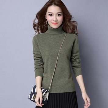 Autumn Winter New Style High Collar Solid Color All Matched Large Yards Elasticity Jumper Jacquard Weave Bottoming Sweaters