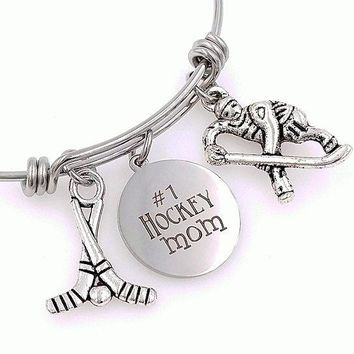Hockey Mom Charm Bangle Bracelet