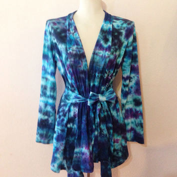 Women Sweater, Tie Dye Jacket with Ties, Waterfall Jacket