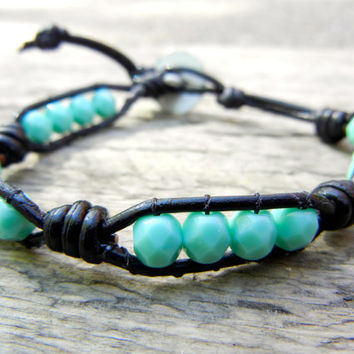 Beaded Leather Single Wrap Stackable Bracelet with Green Turquoise Czech Glass Beads on Knotted Black Leather