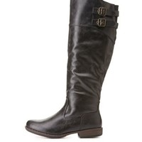 Bamboo Belted Riding Boots by Charlotte Russe - Black