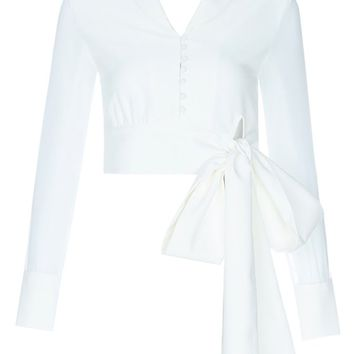 Seize The Day White Sheer Long Sleeve Button Front V Neck Collar Bow Crop Blouse Top