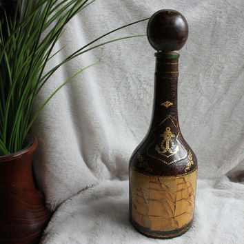 Vintage Clipper Ship Decanter Fausto Corduri Leather Wrapped Glass Liquor Nautical Anchor Bottle Italy