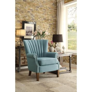 Traditional Style Accent Chair With Flared Arm In Light Blue