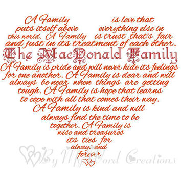 Personalized Family Art, Family Heart Poem Word Art, Unique Handmade Word Art Typography, PRINTABLE DIGITAL FILE