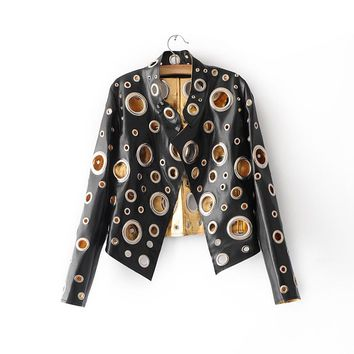 Popular Cool Black Glod Silver Colors Pu Leather Jackets Punk Metal Circle Rivets Hollow Out Ladies Coat Streetwear 2017 Y148